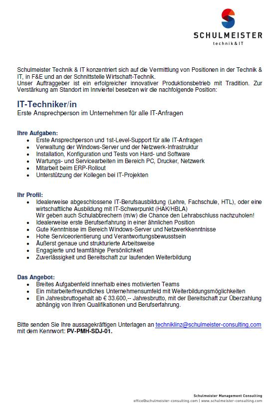 Schulmeister Management Consulting sucht IT-Techniker/in